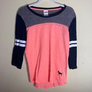 Victorias Secret Pink 3/4 sleeve baseball style T